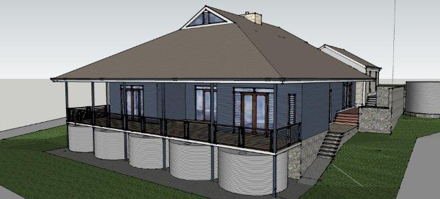 3d Sketch of Country House at Clarendon Rear view by Adelaide Architect Grant Lucas