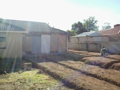 Architectural Home Extension at Marion Adelaide: Foundation preparation